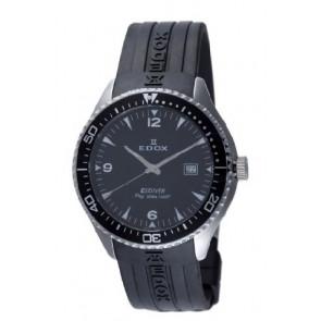 Edox pulseira de relogio 267961 / 70158 Borracha Preto