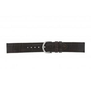 Olympic pulseira de relogio 26HSL057 Couro Castanho escuro 20mm + costura padrão