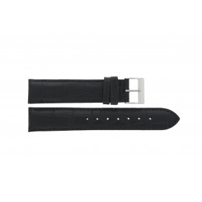 Edox pulseira de relogio 27028-2 (Staal) Couro Preto 17mm + costura padrão