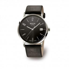 Pulseira de relógio Boccia 3557-02 Couro Preto 21mm