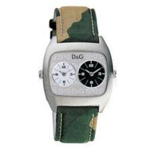 Dolce & Gabbana pulseira de relogio 3719240255 Couro/Textil Verde 22mm + costura bege