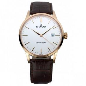 Pulseira de relógio Edox 70162 / 493467 Couro Castanho escuro 20mm