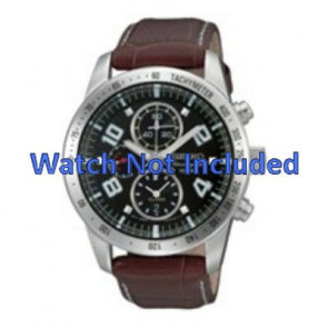 Seiko pulseira de relogio 7T62-0HX0 / SNAC11P1 / 4A332JL  Couro Marrom 21mm + costura branca