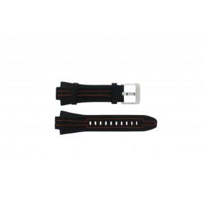 Seiko pulseira de relógio 7L22-0AD0 Couro Preto 15mm + costura laranja