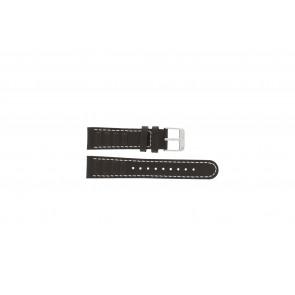 Olympic pulseira de relogio 89JAL004 Couro Marrom 18mm + costura branca