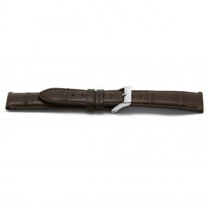 pulseira de couro genuíno Alligator marrom 18mm EX-F334