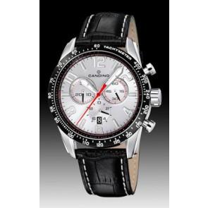 Candino pulseira de relogio C4429-1 Couro Preto + costura branca