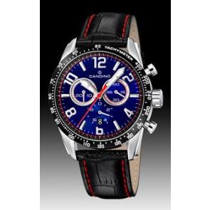Candino pulseira de relogio C4429-2 Couro Preto + costura vermelha