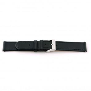 Bracelete de relógio em pele genuína preta 20mm com costura EX-J46