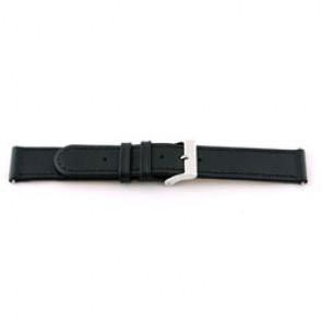 Bracelete de relógio em pele genuína preta 18mm com costura EX-J46