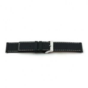 Bracelete em pele genuína em preto com costura branca 30mm J43