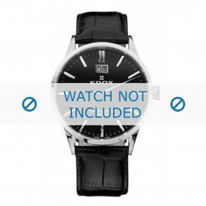 Edox pulseira de relogio 63001-3-NIN Couro Preto 21mm + costura padrão