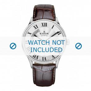 Edox pulseira de relogio 83010-3B-AR Couro Castanho escuro + costura padrão