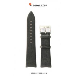 Pulseira de relógio Hamilton H38755731 Couro Preto 22mm