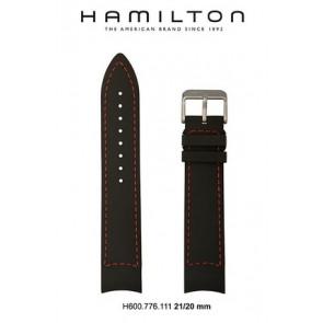Pulseira de relógio Hamilton H776350 / H001.77.635.333.01 Couro Preto 21mm