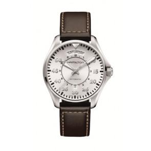 Pulseira de relógio Hamilton H64615555 Couro Castanho escuro 20mm