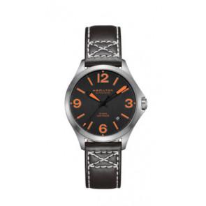 Pulseira de relógio Hamilton H76235731 Couro Preto 19mm