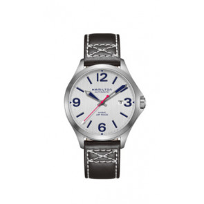 Pulseira de relógio Hamilton H76525751 Couro Preto 20mm