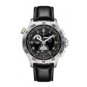 Pulseira de relógio Hamilton H76714735 Couro Preto 22mm