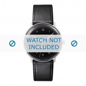 Junghans pulseira de relogio 027/3400.00 Couro Preto 20mm + costura padrão