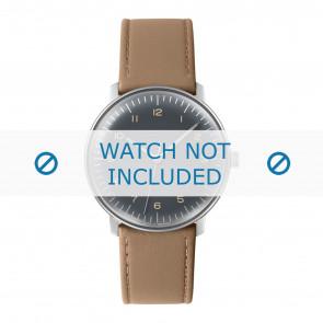 Junghans pulseira de relogio 027/3401.00 Couro Bege 20mm + costura padrão