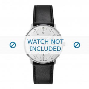 Junghans pulseira de relogio 027/4700.00 Couro Preto 20mm + costura padrão