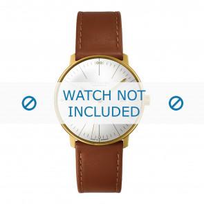 Junghans pulseira de relogio 027/7700.00 Couro Conhaque 20mm + costura padrão