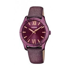 Pulseira de relógio Calypso K5718/5 Couro Roxo vermelho 17mm