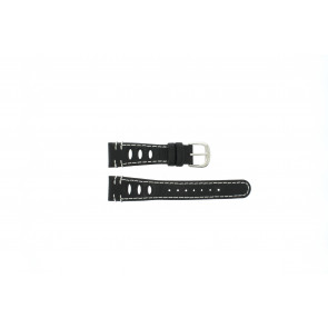 Lorus pulseira de relogio 19x14 Couro Preto 19mm + costura branca