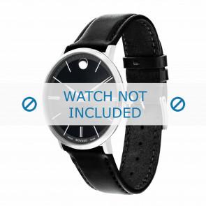 Movado pulseira de relogio 0607086 Couro Preto 20mm + costura padrão