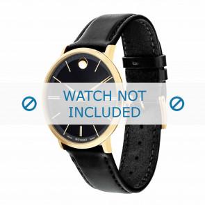 Movado pulseira de relogio 0607087 Couro Preto 20mm + costura padrão