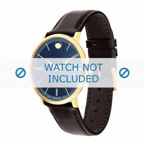 Movado pulseira de relogio 0607088 Couro Castanho escuro 20mm + costura padrão