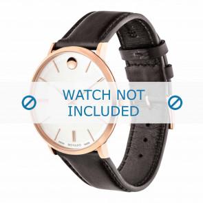 Movado pulseira de relogio 0607089 Couro Castanho escuro 20mm + costura padrão