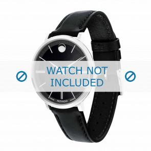 Movado pulseira de relogio 0607090 Couro Preto 16mm + costura padrão