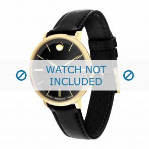 Movado pulseira de relogio 0607091 Couro Preto 16mm + costura padrão