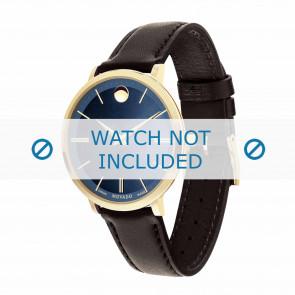Movado pulseira de relogio 0607092 Couro Castanho escuro 16mm + costura padrão