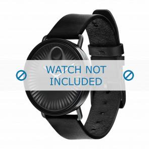 Movado pulseira de relogio 3680039 Couro Preto 20mm