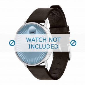 Movado pulseira de relogio 3680040 Couro Castanho escuro 20mm