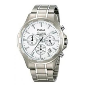 Pulseira de relógio Pulsar VD53-X064 / PT3211X1 Titânio Cinza 20mm