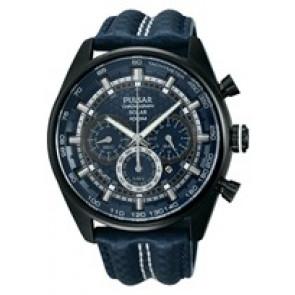 Pulseira de relógio Pulsar VS75-X004 / PX5043X1 Couro Azul 24mm