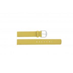 Q&Q pulseira de relogio QQ14LDYGS Couro Amarelo 14mm + costura branca