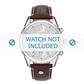 Roamer pulseira de relogio 540951-41-16-05 Couro Marrom 22mm + costura branca