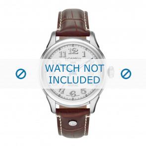 Roamer pulseira de relogio 545660-41-16-05 Couro Marrom 18mm + costura branca