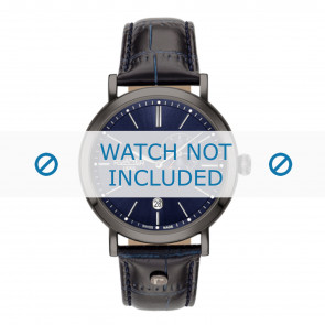 Roamer pulseira de relogio 936950-40-45-09 Couro Azul 22mm + costura padrão