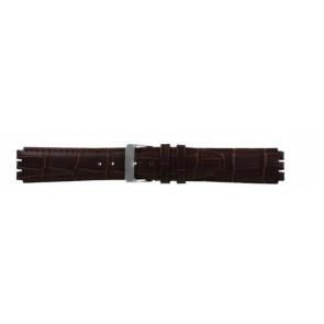Bracelete para Swatch em pele genuina castanha escura 17mm 21414