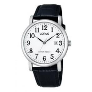 Lorus pulseira de relogio VJ32 X246 Couro Preto 20mm + costura preto