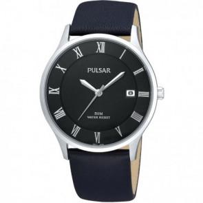 Pulseira de relógio Pulsar VX42-X355 Couro Preto 20mm