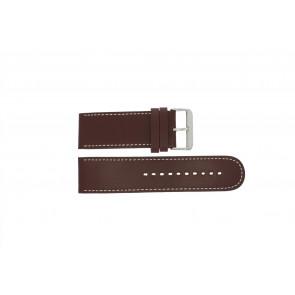 Prisma pulseira de relogio 28BR Couro Marrom 28mm + costura branca