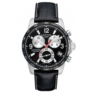 Certina pulseira de relogio C610007730 Couro Preto 20mm + costura branca