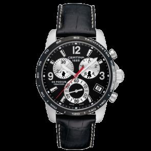 Certina pulseira de relogio C610007731 / C536.7029.42.65 XL Couro Preto 20mm + costura branca
